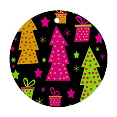 Colorful Xmas Round Ornament (two Sides)  by Valentinaart