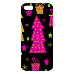 Colorful Xmas Apple Iphone 5 Premium Hardshell Case by Valentinaart