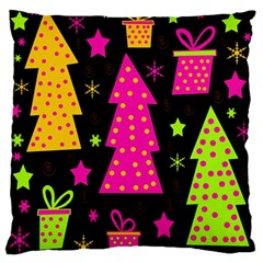 Colorful Xmas Large Flano Cushion Case (two Sides) by Valentinaart