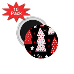Red Playful Xmas 1 75  Magnets (10 Pack)  by Valentinaart