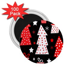 Red Playful Xmas 2 25  Magnets (100 Pack)  by Valentinaart