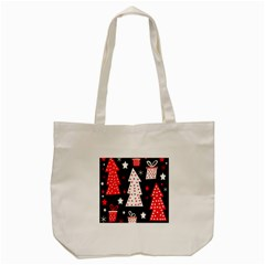 Red Playful Xmas Tote Bag (cream) by Valentinaart