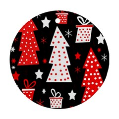 Red Playful Xmas Round Ornament (two Sides)  by Valentinaart