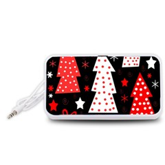 Red Playful Xmas Portable Speaker (white)  by Valentinaart