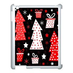 Red Playful Xmas Apple Ipad 3/4 Case (white) by Valentinaart