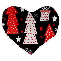 Red Playful Xmas Large 19  Premium Heart Shape Cushions by Valentinaart