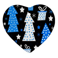 Blue Playful Xmas Ornament (heart)  by Valentinaart