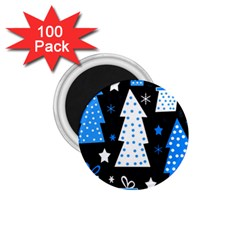 Blue Playful Xmas 1 75  Magnets (100 Pack)  by Valentinaart