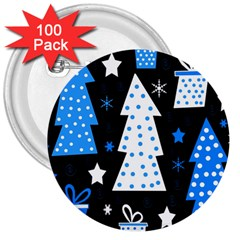 Blue Playful Xmas 3  Buttons (100 Pack)  by Valentinaart
