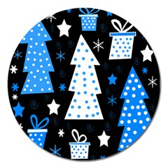 Blue Playful Xmas Magnet 5  (round) by Valentinaart