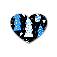 Blue Playful Xmas Rubber Coaster (heart)  by Valentinaart