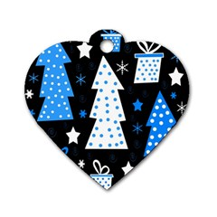 Blue Playful Xmas Dog Tag Heart (one Side) by Valentinaart