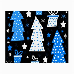 Blue Playful Xmas Small Glasses Cloth (2 Side) by Valentinaart