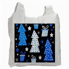 Blue Playful Xmas Recycle Bag (one Side) by Valentinaart