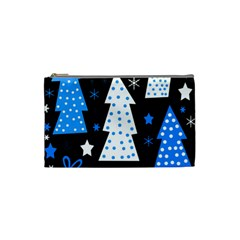 Blue Playful Xmas Cosmetic Bag (small)  by Valentinaart