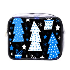 Blue Playful Xmas Mini Toiletries Bags by Valentinaart