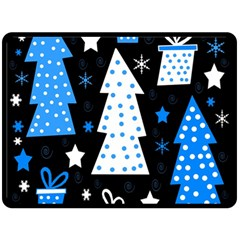 Blue Playful Xmas Fleece Blanket (large)  by Valentinaart