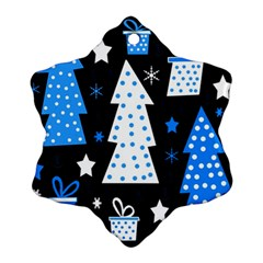 Blue Playful Xmas Ornament (snowflake)  by Valentinaart