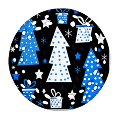 Blue Playful Xmas Round Filigree Ornament (2side) by Valentinaart