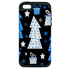 Blue Playful Xmas Apple Iphone 5 Hardshell Case (pc+silicone) by Valentinaart