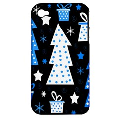 Blue Playful Xmas Apple Iphone 4/4s Hardshell Case (pc+silicone) by Valentinaart
