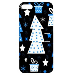 Blue Playful Xmas Apple Iphone 5 Hardshell Case With Stand by Valentinaart