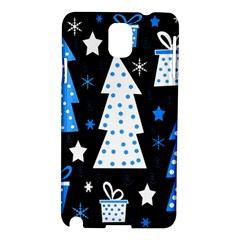 Blue Playful Xmas Samsung Galaxy Note 3 N9005 Hardshell Case by Valentinaart