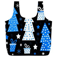 Blue Playful Xmas Full Print Recycle Bags (l)  by Valentinaart