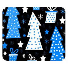 Blue Playful Xmas Double Sided Flano Blanket (small)  by Valentinaart