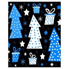 Blue Playful Xmas Drawstring Bag (small) by Valentinaart