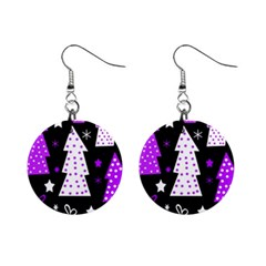 Purple Playful Xmas Mini Button Earrings