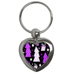 Purple Playful Xmas Key Chains (heart)  by Valentinaart