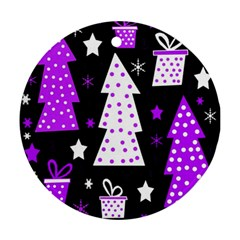 Purple Playful Xmas Round Ornament (two Sides)  by Valentinaart
