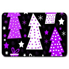 Purple Playful Xmas Large Doormat  by Valentinaart