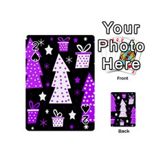 Purple Playful Xmas Playing Cards 54 (mini)  by Valentinaart