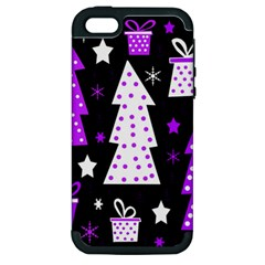 Purple Playful Xmas Apple Iphone 5 Hardshell Case (pc+silicone) by Valentinaart