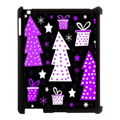 Purple Playful Xmas Apple Ipad 3/4 Case (black) by Valentinaart