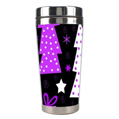 Purple Playful Xmas Stainless Steel Travel Tumblers by Valentinaart