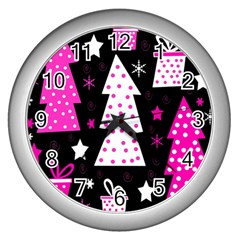 Pink playful Xmas Wall Clocks (Silver)