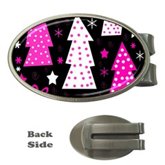 Pink Playful Xmas Money Clips (oval)  by Valentinaart