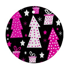 Pink Playful Xmas Round Ornament (two Sides)  by Valentinaart