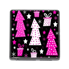 Pink Playful Xmas Memory Card Reader (square) by Valentinaart