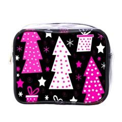 Pink Playful Xmas Mini Toiletries Bags by Valentinaart