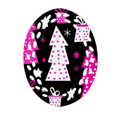 Pink Playful Xmas Ornament (oval Filigree)  by Valentinaart