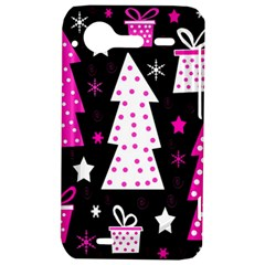 Pink playful Xmas HTC Incredible S Hardshell Case  by Valentinaart