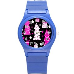 Pink Playful Xmas Round Plastic Sport Watch (s) by Valentinaart