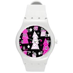 Pink Playful Xmas Round Plastic Sport Watch (m) by Valentinaart