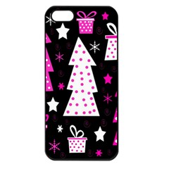 Pink Playful Xmas Apple Iphone 5 Seamless Case (black) by Valentinaart