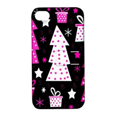 Pink Playful Xmas Apple Iphone 4/4s Hardshell Case With Stand by Valentinaart