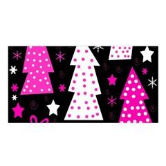 Pink Playful Xmas Satin Shawl by Valentinaart